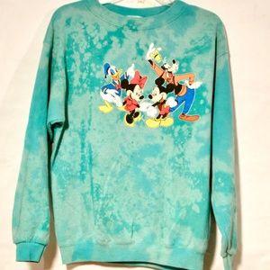 Disney World Blue Mickey Donald Teal XL Sweatshirt